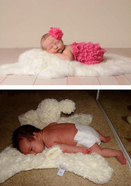 beba spava na krznu